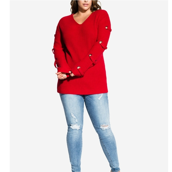 City Chic Sweaters - CITY CHIC Grommet Sleeved Sweater